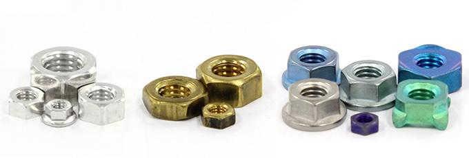 鉄、ステンレス、真鍮、アルミ、チタン、洋白など、様々な材質のナット